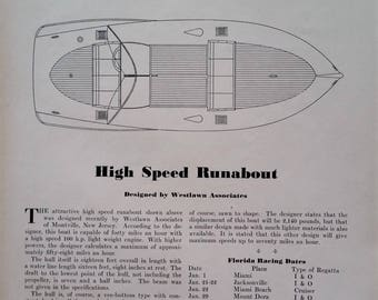 Boat Building Plans 1950 'Speed Runabout' True Boat Lovers Gift Boat Building Plans' by Westlawn Assoc Motor Boat Mag 8x10 Ready Frame