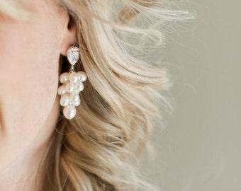 Bridal Earrings, Freshwater Pearl Bridal Earrings, Wedding Earrings, Bridal Jewelry, Pearl Jewellery