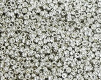 15/0 Miyuki Round Seed Bead - 2941 - Galvanized Silver - 5 grams - Color 15-1051