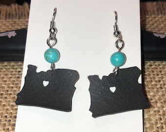 Upcycled bike tire tube earrings- Oregon State cutout with turquoise