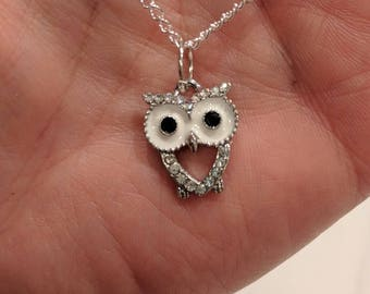 Owl Pendant Necklace on Silver Chain