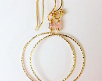 Tourmaline gemstone bead amd gold fill earrings