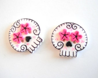 Button Twin Sugar Skulls handmade polymer clay buttons ( 2 )