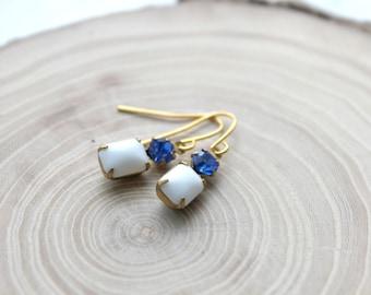 Blaue und weiße Vintage Stein Ohrringe