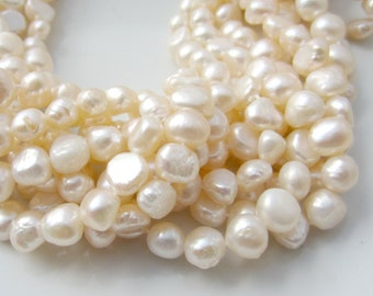 Cream Pearls, Nugget Pearls, Off White Pearls, Freshwater Pearls, Side Drilled Pearl, Real Genuine Pearl, 7mm-8mm Pearl, Full Strand NP553