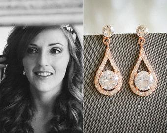 Rose Gold Bridal Earrings, Crystal Wedding Earrings, Teardrop Earrings, Art Deco Dangle Drop Bridal Earrings, Vintage Style Jewelry,ARAMINTA