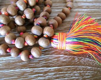 Tassel Necklace- Long Wooden Beaded, Bright Tassel, Mala Prayer Beads