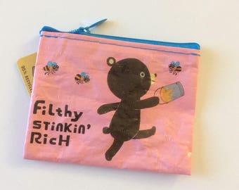 """NEW>>>Blue Q Coin Purse """"Filthy Stinkin Rich"""" : Coin purse, change purse, ID holder..."""