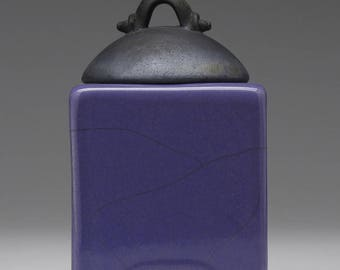 Ceramic box, purple  crackle, raku fired art pottery, keepsake box, handmade