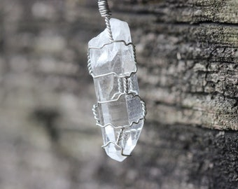 Small Wire Wrapped Quartz Crystal Pendant Necklace
