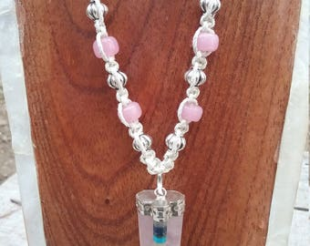Rose quartz chakra hemp necklace