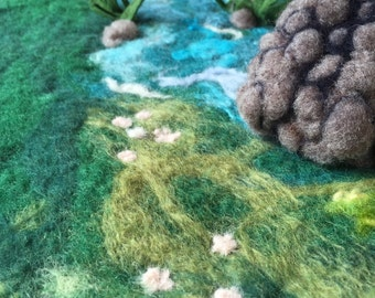 Stone bridge over a river wet-felted play mat