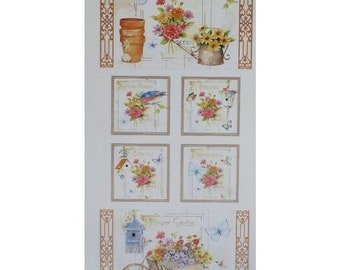 Clearance Sale~Adalees Garden Panel 23In X 44In By Red Rooster Floral Cotton Fabric