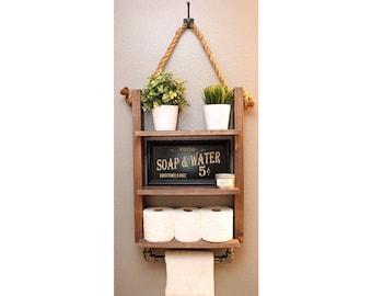Bathroom Shelf With Industrial Towel Bar   Rustic Wood And Rope Shelf    Modern Farmhouse
