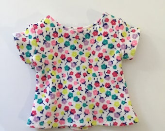 "14.5"" Doll Clothes - Flowered Tee Top - To fit Wellie Wishers and Hearts for Hearts dolls"