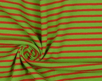 Green and Red Stripe Cotton Lycra Jersey Knit Fabric