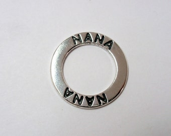 """Sterling Silver """"NANA"""" Affirmation Message Ring, 23mm SS Affirmation Ring"""
