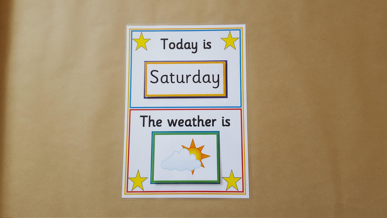 Kinder Kalender Tage der Woche Wetter interaktive