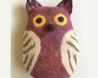 Felt Owl, stuffed animal, handmade, nursery and home decor, toy, soft sculpture, pillow, eco friendly art toy