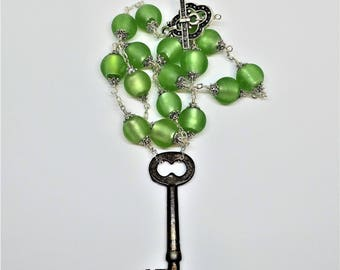Elegant Soft Green Sea Glass Steampunk Skeleton Key Bohemian Gypsy Necklace
