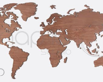 Wooden world map - WALNUT