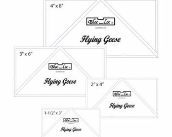 """Bloc Loc FG Set 1  - One Remaining - Flying Geese Ruler - Set 1  -  1-1/2"""" x 3"""", 2"""" x 4"""", 3"""" x 6"""", and 4"""" x 8"""""""