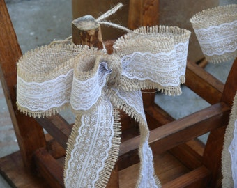 Burlap and Lace Pew Bows, Rustic Wedding Decor, Lace Burlap bow, Barn Wedding Ceremony, Burlap and Lace Bows, Burlap Decoration, Bow Decor