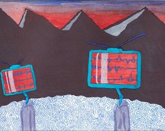 Televoid Dystopia (Original 9 x 12 inch Illustration)