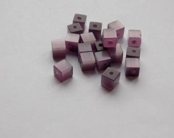 glass cube 4 mm purple set the cat's eye bead