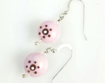 SALE! Pink Lampwork Earrings