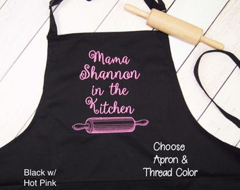 Custom In the Kitchen Embroidered Apron - Custom Kitchen Apron - Womens Apron - Personalized Apron - Bakers Apron - Housewarming Gift