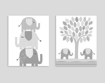 Elephant Nursery Art, Gender Neutral Baby Decor, Baby Boy, Baby Girl, Stacked Elephants, Gray and White Nursery, Baby Shower Gift, Canvas