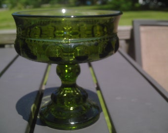 Vintage mid century 1960's emerald green carnival glass candy dish three piece mold Indiana Glass Kings crown thumbprint