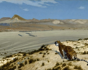 Tiger On The Watch by Jean-Léon Gérôme, in various sizes, Giclee Canvas Print
