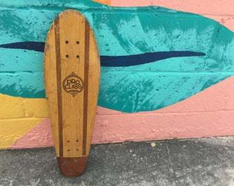 Vintage Pro Class Wood Wooden Skateboard Deck Skate Board Orange California Striped Two Tone Skating Cali Sidewalk Decor