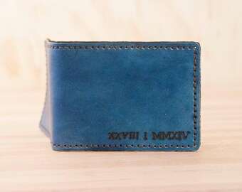 Custom ID Bifold Wallet - Mens Leather Wallet with Roman Numeral Date in Blue - Wedding or Third Anniversary Gift