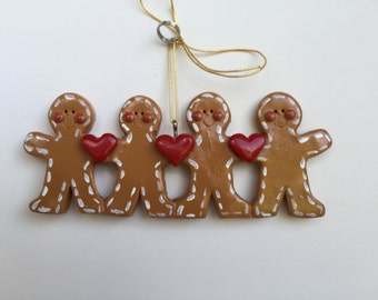 SALE..Custom Personalized Gingerbreadman 4 Christmas Ornament, family of four, four children, gingerbread ornament, sale ornament