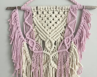 STRAWBERRIES AND CREAM macrame wall hanging