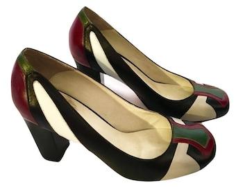 80's Color Block Heels, Leather Heels, Block Heel
