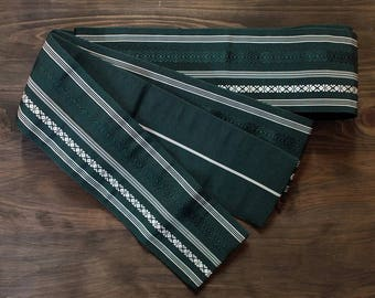 Second hand kaku-obi, Japanese obi Belt for man, sash belt, silk, Hakata-ori, Kenjo-gara, green, dark green