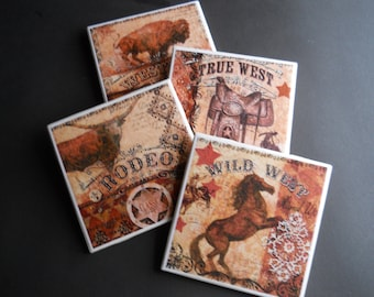 Western Coasters ~ Ceramic Tile Coasters ~ Western Theme ~ Western Decor ~ Drink Coasters ~ Bar Coasters ~ Housewarming Gift ~  Home Decor