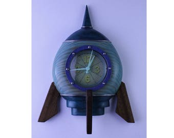 Spaceship Clock - blue and turquoise