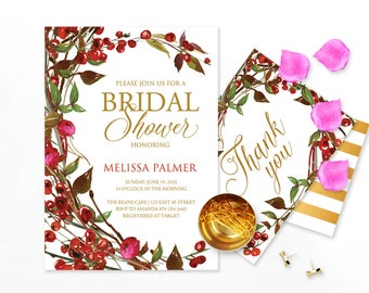 Red Berries Elegant Bridal Shower Invitation, Red Bridal Shower Invite, Watercolor Bridal Shower Invitation, Customized For Any Event