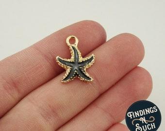 2 Black Starfish Gold Tone Enamel