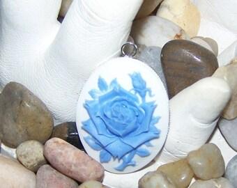 Blue rose cabochon necklace pendant