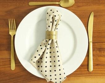 Set of 4 Flax (Linen) + Cotton Dinner Napkins - Navy Polka Dot