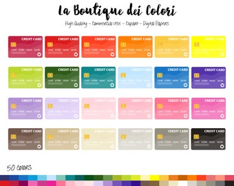 50 Rainbow Credit Card Clip art, Colorful Digital Graphics PNG, Money, debit card payment Clipart, Planner Stickers Commercial Use
