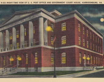 Harrison, Virginia, Post Office, Court House, at Night - Vintage Postcard - Postcard - Unused (DDD)