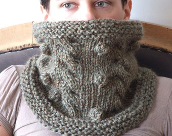 Wool knit cowl, chunky scarf, soft and cozy cowl, cabled circle scarf, olive green cowl, women neck warmer, fall fashion trend, gift for her