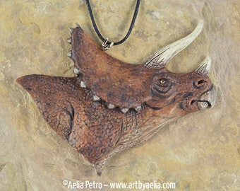 Triceratops Head Dinosaur Necklace - IN STOCK and Ready to Ship